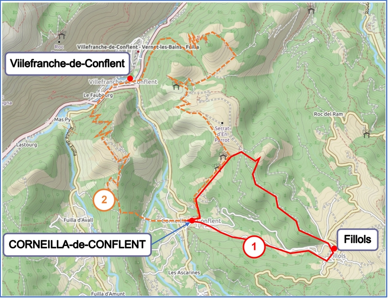 Walks from Corneilla map