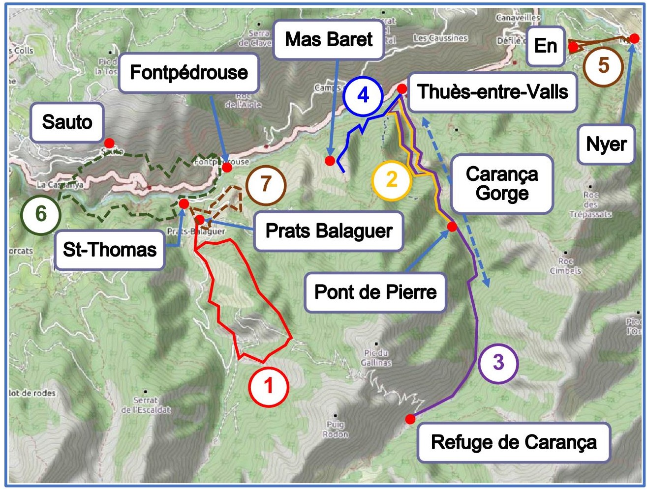 Walks from Fontpédrouse Thuès and Carança map