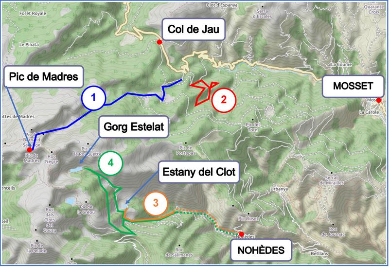 Walks from Mosset and Nohèdes map