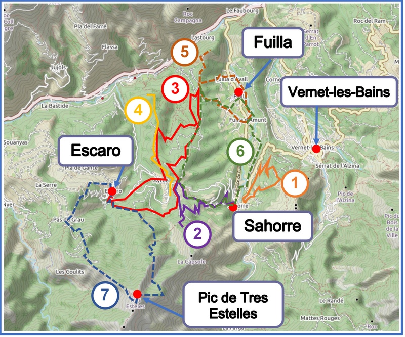Walks from Sahorre, Escaro and Fuilla map